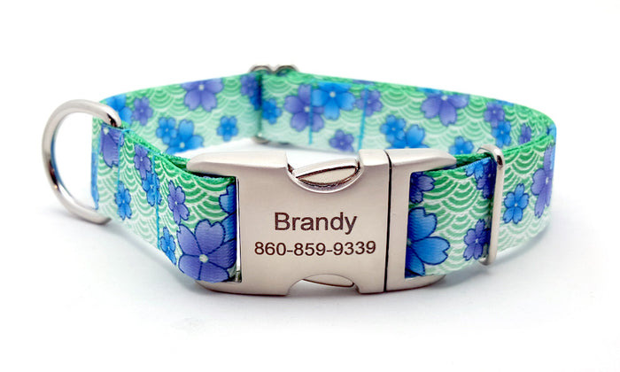 April Blossoms Polyester Webbing Dog Collar with Laser Engraved Personalized Buckle - BLUE