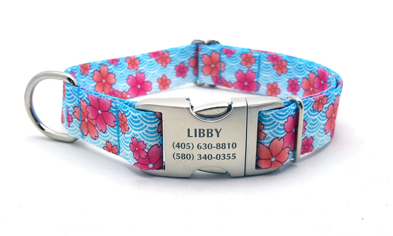 April Blossoms Polyester Webbing Dog Collar with Laser Engraved Personalized Buckle - PINK - Flying Dog Collars