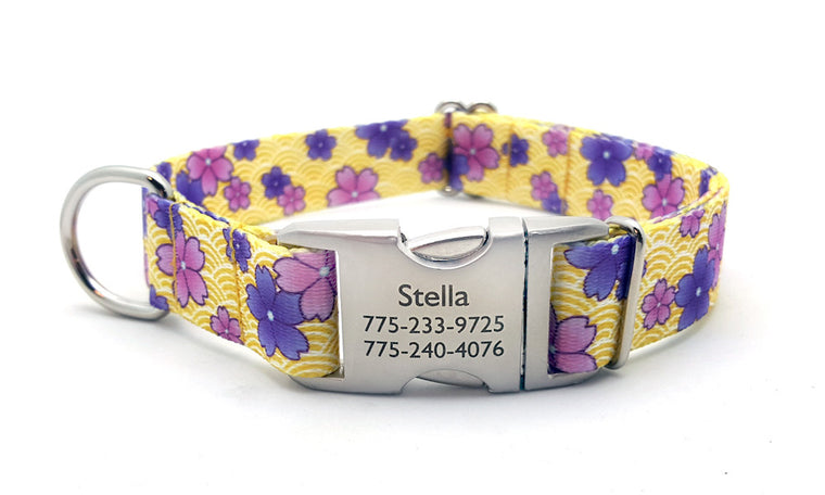 April Blossoms Polyester Webbing Dog Collar with Laser Engraved Personalized Buckle - PURPLE