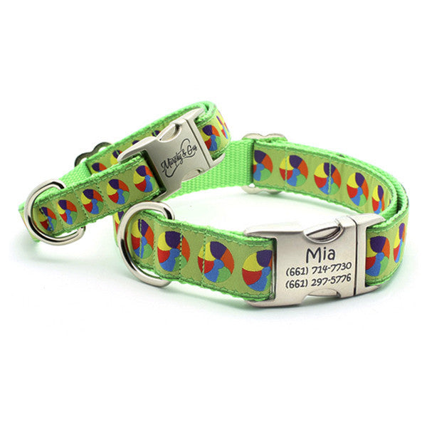 At The Beach Dog Collar with Personalized Buckle - Flying Dog Collars