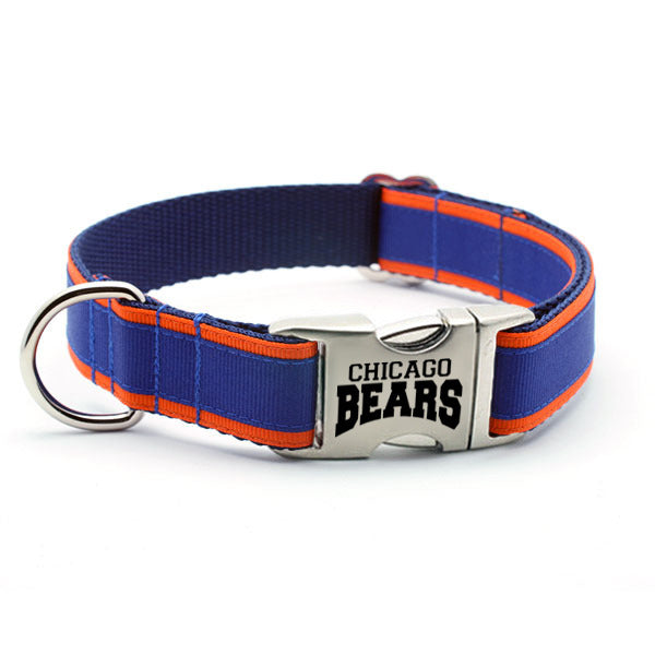 Chicago Bears Dog Collar with Laser Etched Aluminum Buckle - Flying Dog Collars