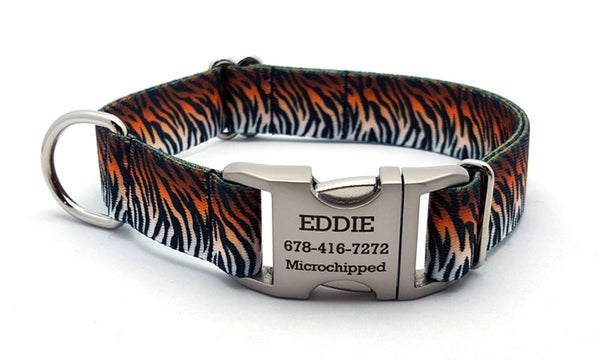 Bengal Tiger Webbing Dog Collar with Laser Engraved Personalized Buckle - Flying Dog Collars