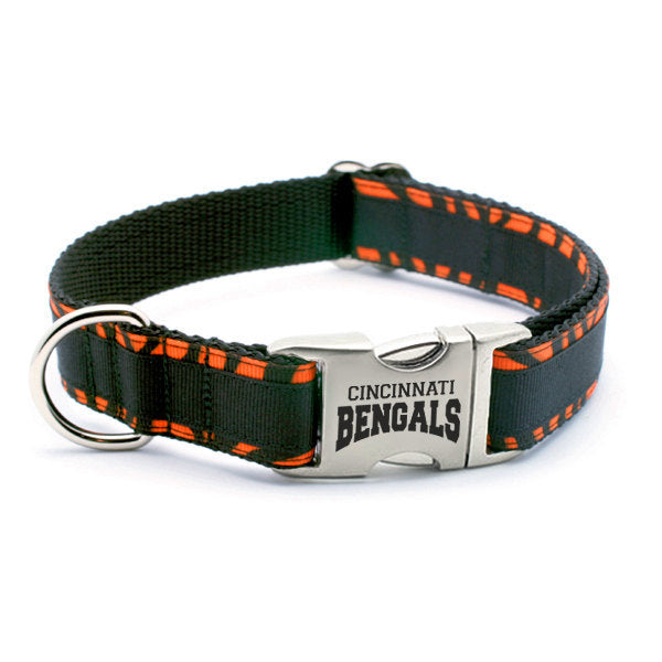 Cincinnati Bengals Dog Collar with Laser Etched Aluminum Buckle - Flying Dog Collars