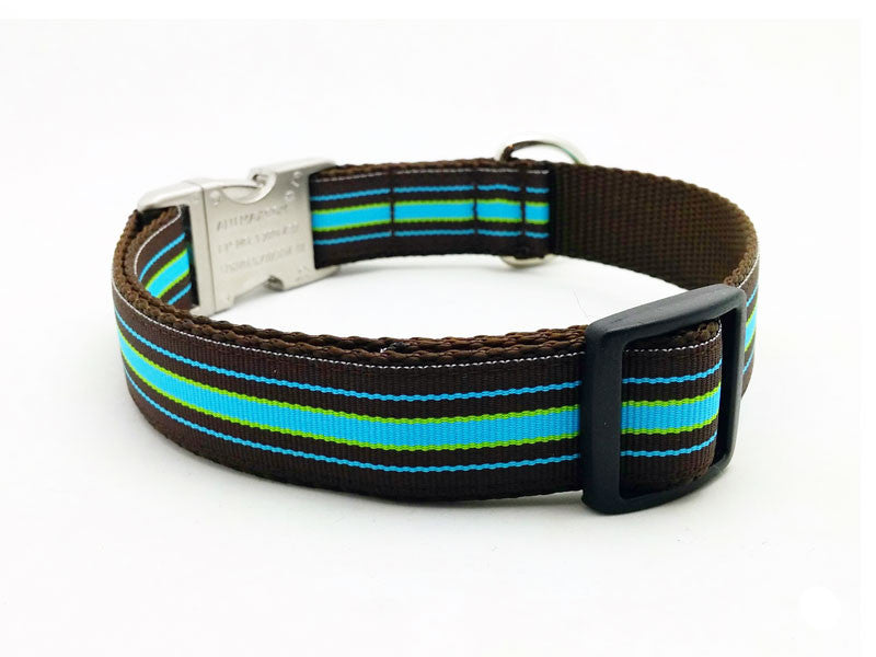 Bermuda Cool Stripe Dog Collar with Laser Engraved Personalized Buckle - Flying Dog Collars