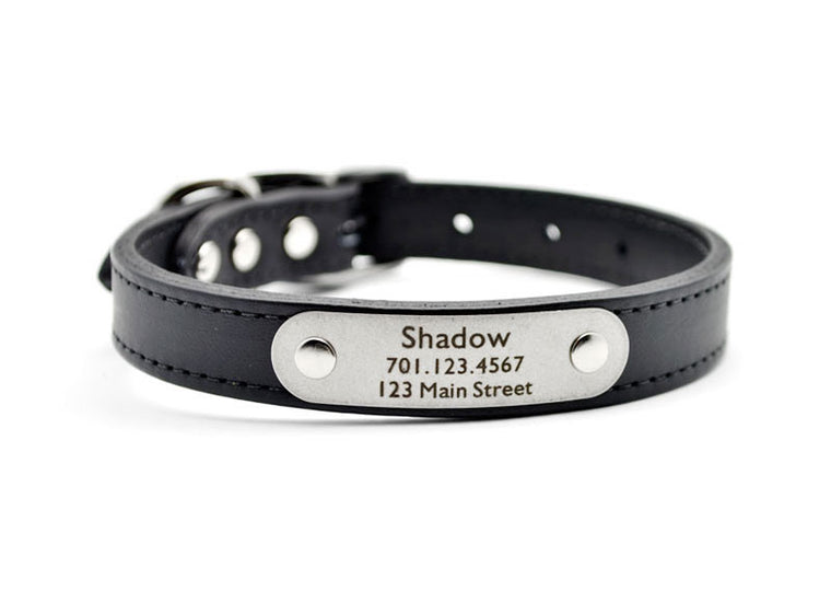 Leather Dog Collar with Laser Engraved Personalized Nameplate - BLACK