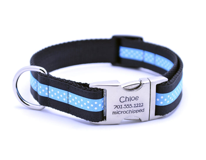 Black/Aqua Mini Polka Dot Dog Collar with Laser Engraved Personalized Buckle - Flying Dog Collars