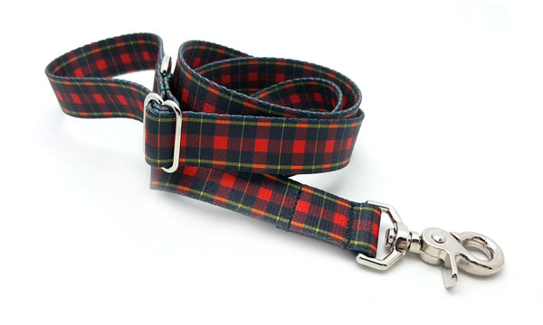 Black & Red Plaid Polyester Adjustable Handle Leash