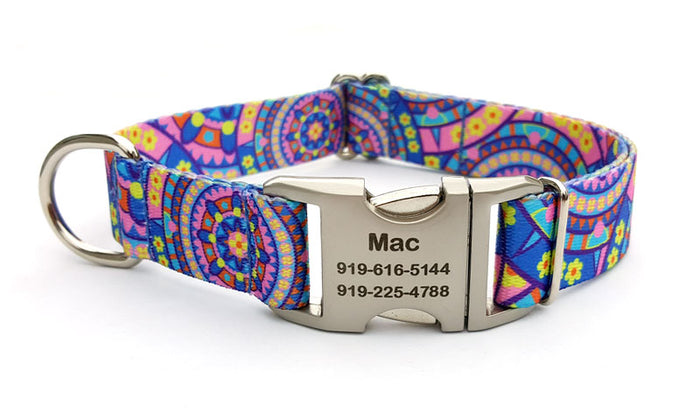 Blue Boho Mandala Polyester Webbing Dog Collar with Laser Engraved Personalized Buckle