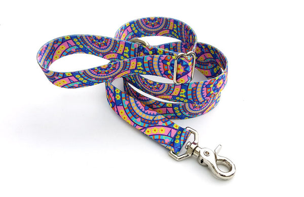 Blue Boho Mandala Polyester Adjustable Handle Leash