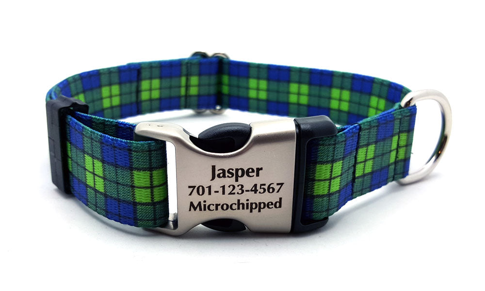 Blue & Green Plaid Polyester Webbing Dog Collar with Laser Engraved Personalized Buckle - Flying Dog Collars