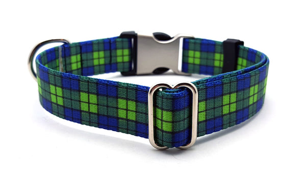 BLUE & GREEN PLAID | DOG COLLAR