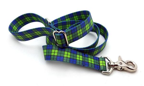 Blue & Green Plaid Polyester Adjustable Handle Leash