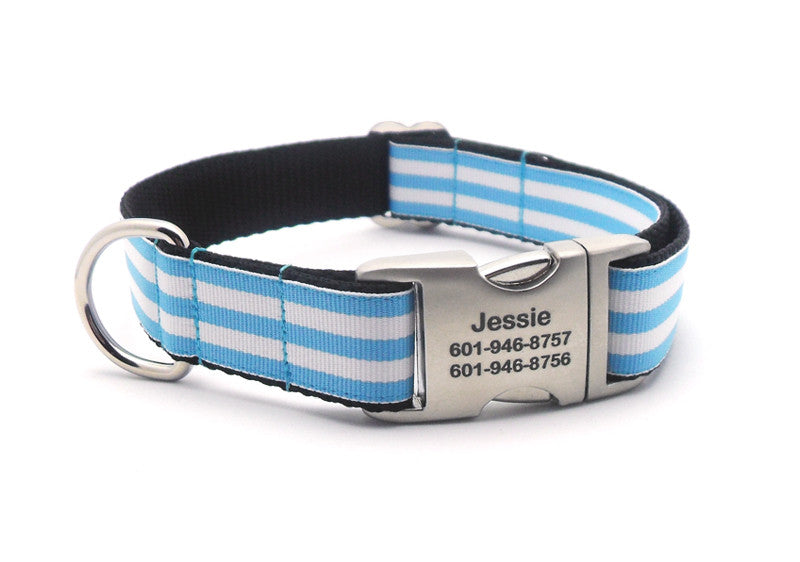 Cabana Stripe Dog Collar with Laser Engraved Personalized Buckle - LIGHT BLUE - Flying Dog Collars