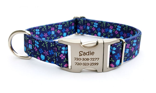 Blueberry Fields Polyester Webbing Dog Collar with Laser Engraved Personalized Buckle - Flying Dog Collars