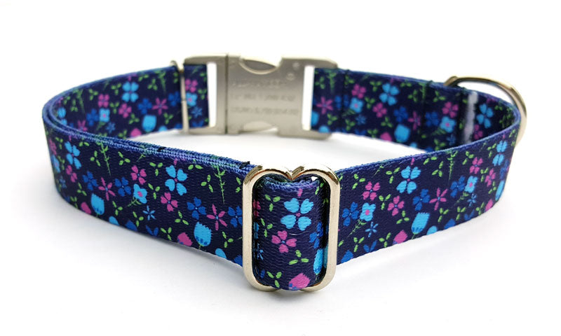 Blueberry Fields Polyester Webbing Dog Collar with Laser Engraved Personalized Buckle