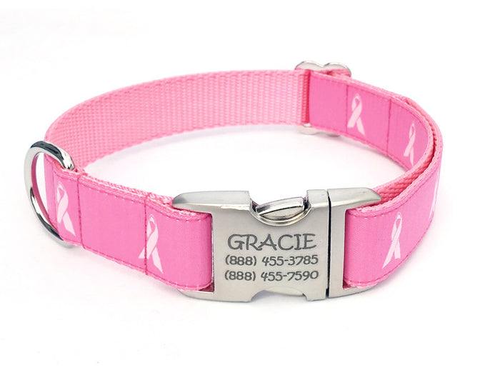 BREAST CANCER AWARENESS Dog Collar with Personalized Buckle - Flying Dog Collars