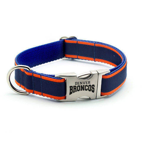 Denver Broncos Dog Collar with Laser Etched Aluminum Buckle - Flying Dog Collars