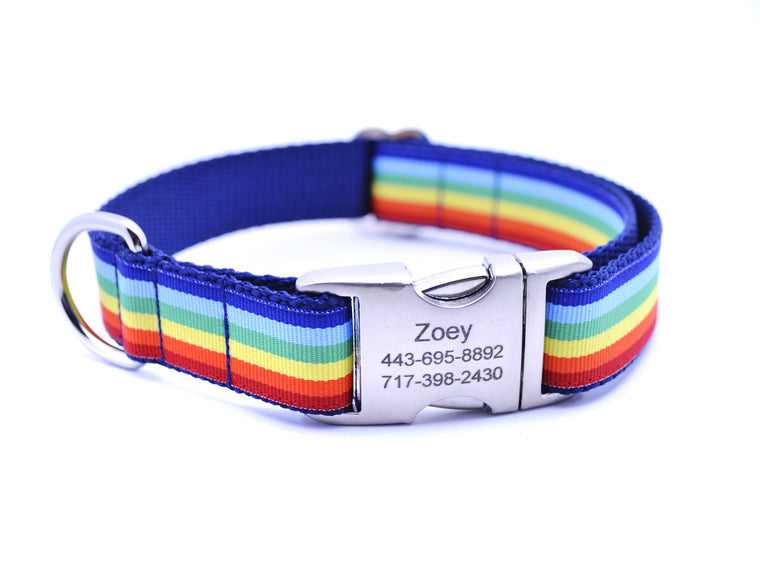 Cabana Stripe Dog Collar with Laser Engraved Personalized Buckle - RAINBOW - Flying Dog Collars
