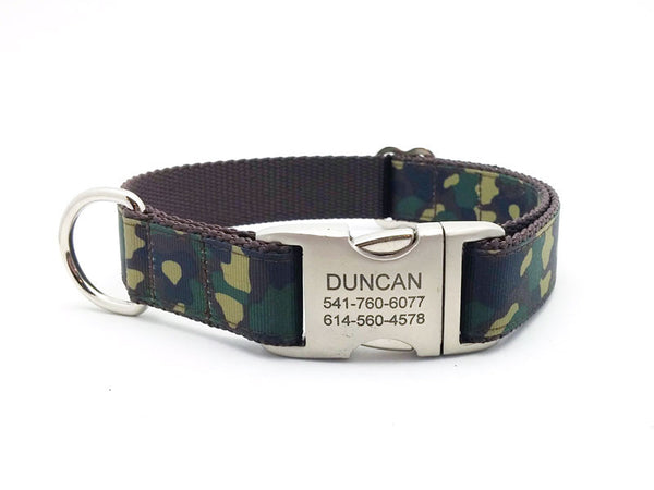 Camouflage Print Ribbon & Webbing Dog Collar with Laser Engraved Personalized Buckle - Flying Dog Collars