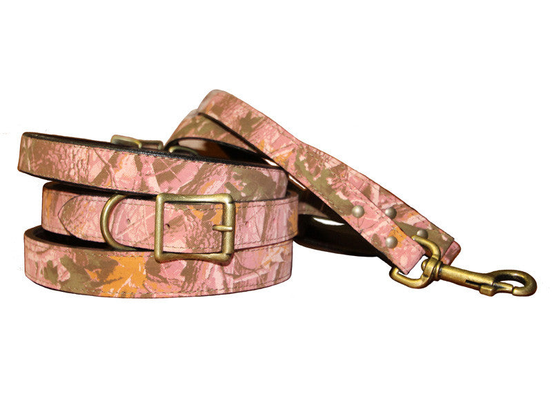 Camouflage Leather Dog Collar with Laser Engraved Nameplate - Flying Dog Collars