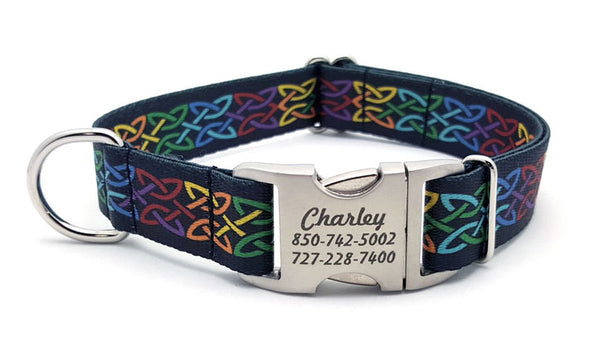 Celtic Pride Polyester Webbing Dog Collar with Laser Engraved Personalized Buckle - Flying Dog Collars