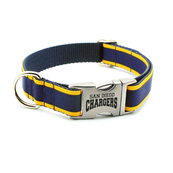 San Diego Chargers Dog Collar with Laser Etched Aluminum Buckle - Flying Dog Collars