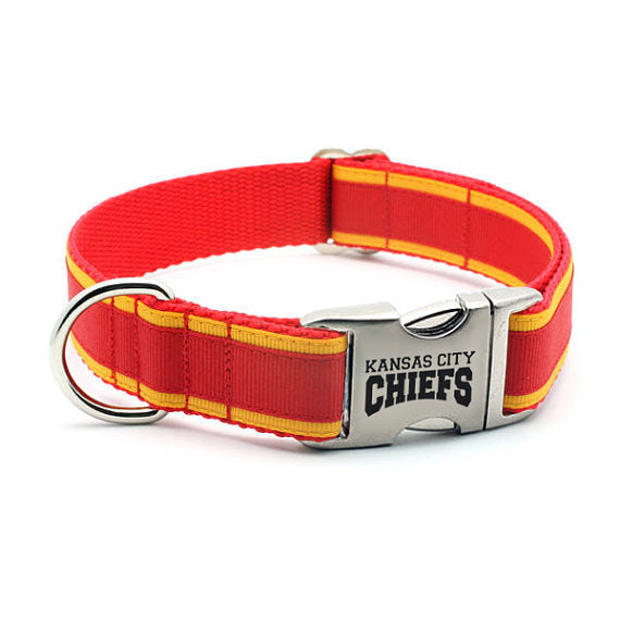 Kansas City Chiefs Dog Collar with Laser Etched Aluminum Buckle - Flying Dog Collars