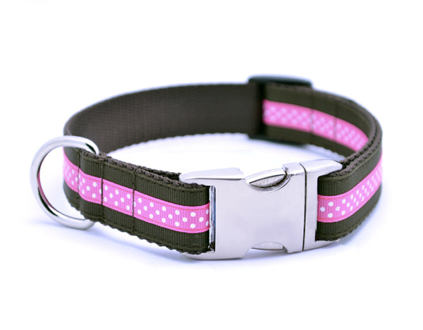 Mini Polka Dot with Plain Buckle - CHOCOLATE/HOT PINK - Flying Dog Collars