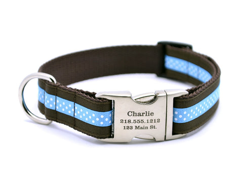 Chocolate/Aqua Mini Polka Dot Dog Collar with Laser Engraved Personalized Buckle - Flying Dog Collars