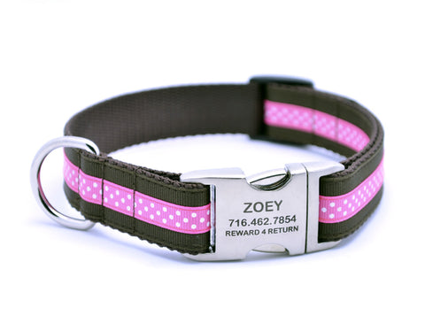Chocolate/Hot Pink Mini Polka Dot Dog Collar with Laser Engraved Personalized Buckle - Flying Dog Collars