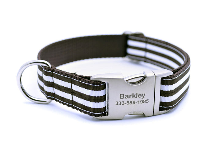 Cabana Stripe Dog Collar with Laser Engraved Personalized Buckle - CHOCOLATE - Flying Dog Collars