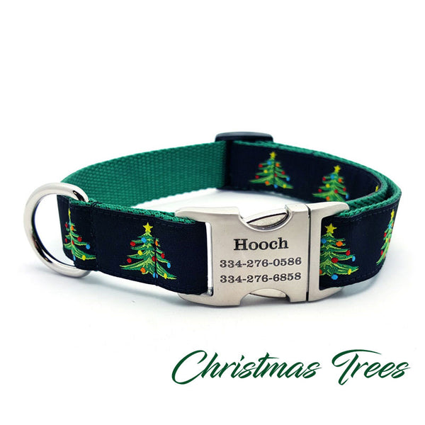 Christmas Tree Dog Collar with Personalized Buckle