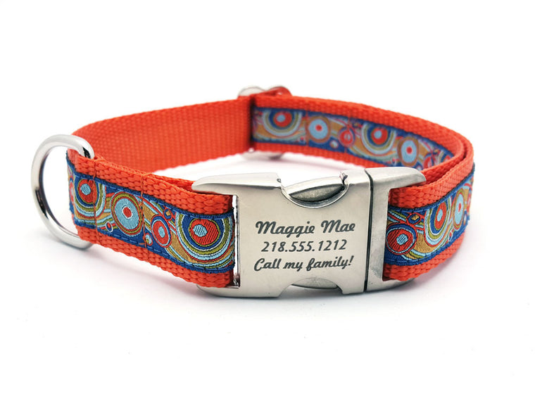 Circles and Waves Dog Collar with Personalized Buckle - Flying Dog Collars
