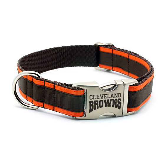 Cleveland Browns Dog Collar with Laser Etched Aluminum Buckle - Flying Dog Collars