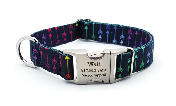 Colorful Arrows Polyester Webbing Dog Collar with Laser Engraved Personalized Buckle - Flying Dog Collars