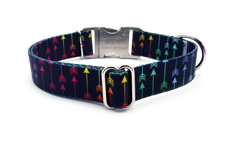Colorful Arrows Polyester Webbing Dog Collar with Laser Engraved Personalized Buckle