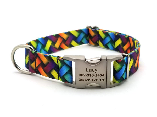 Colorful Lattice Polyester Webbing Dog Collar with Laser Engraved Personalized Buckle