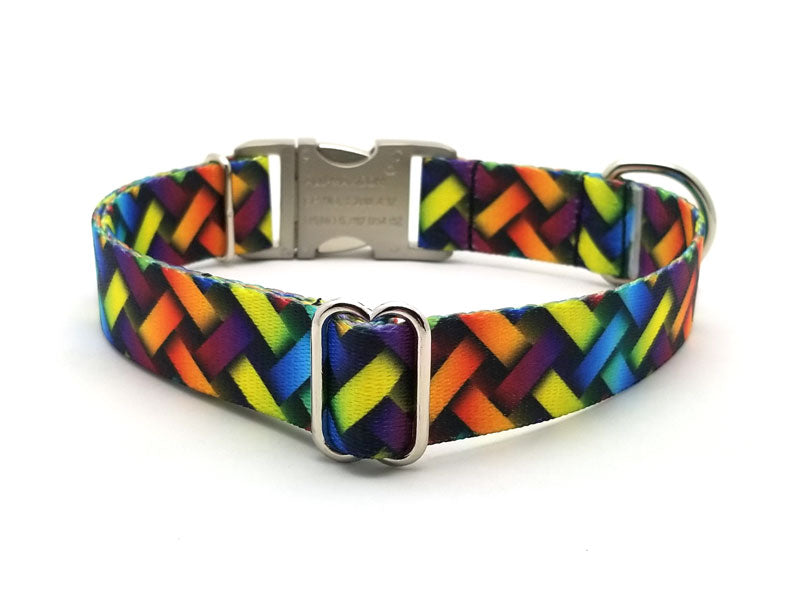 Colorful Lattice Polyester Webbing Dog Collar with Laser Engraved Personalized Buckle - Flying Dog Collars