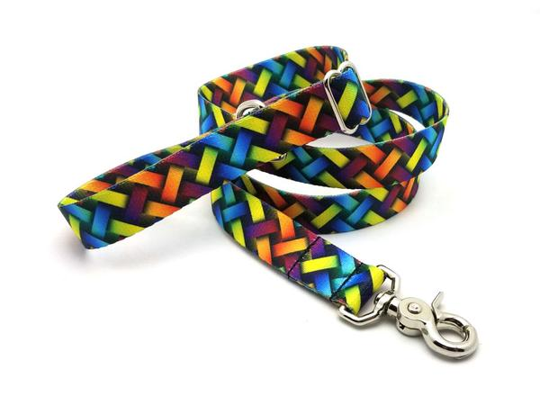 Colorful Lattice Polyester Adjustable Handle Leash