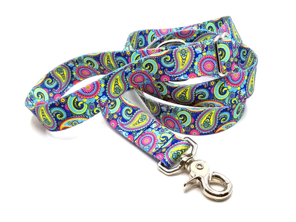Colorful Paisley Polyester Webbing Adjustable Handle Leash