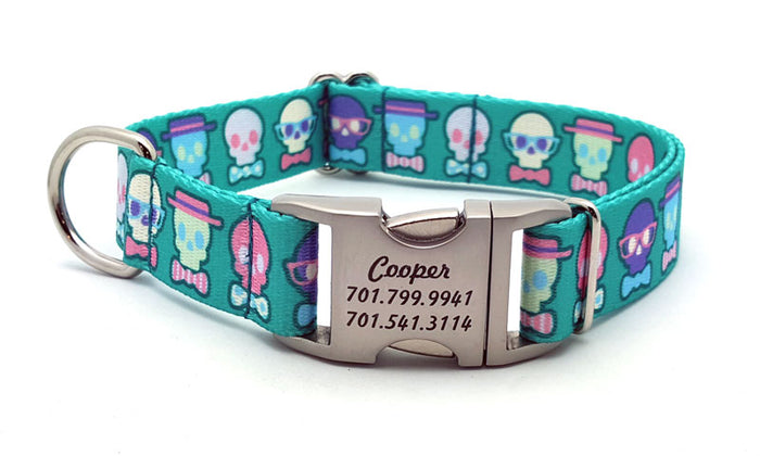Dapper Skulls Webbing Dog Collar with Laser Engraved Personalized Buckle