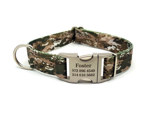 Desert Viper Camo Polyester Webbing Dog Collar with Laser Engraved Personalized Buckle - Flying Dog Collars
