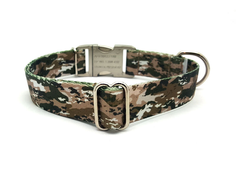 Desert Viper Camo Polyester Webbing Dog Collar with Laser Engraved Personalized Buckle