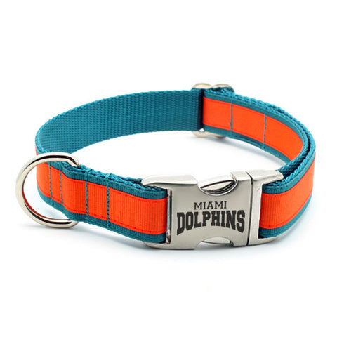 Miami Dolphins Dog Collar with Laser Etched Aluminum Buckle
