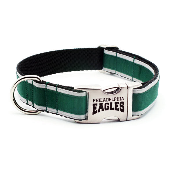 Philadelphia Eagles Dog Collar with Laser Etched Aluminum Buckle