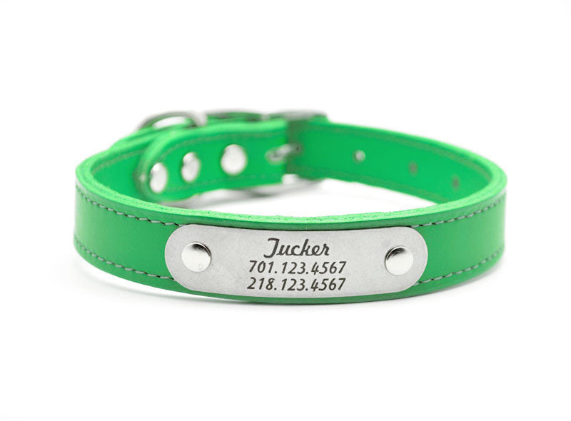 Leather Dog Collar with Laser Engraved Personalized Nameplate - EMERALD