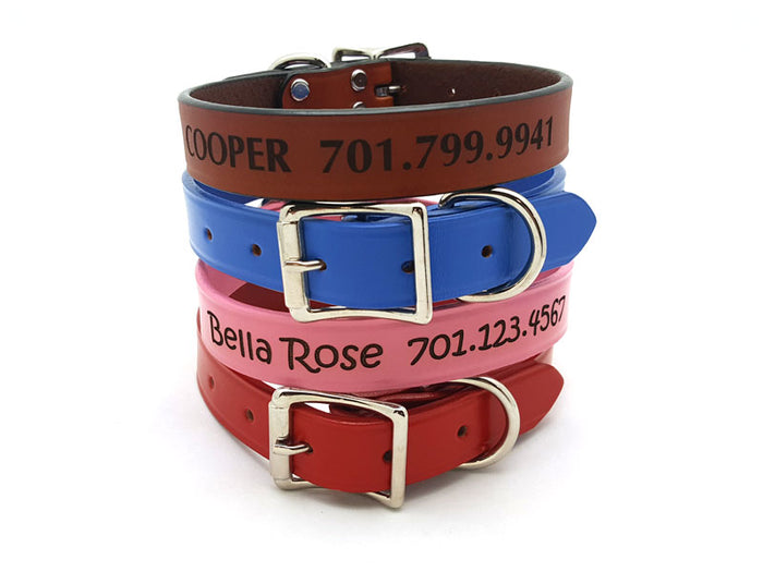 Laser Engraved Classic Leather Dog Collar - Flying Dog Collars