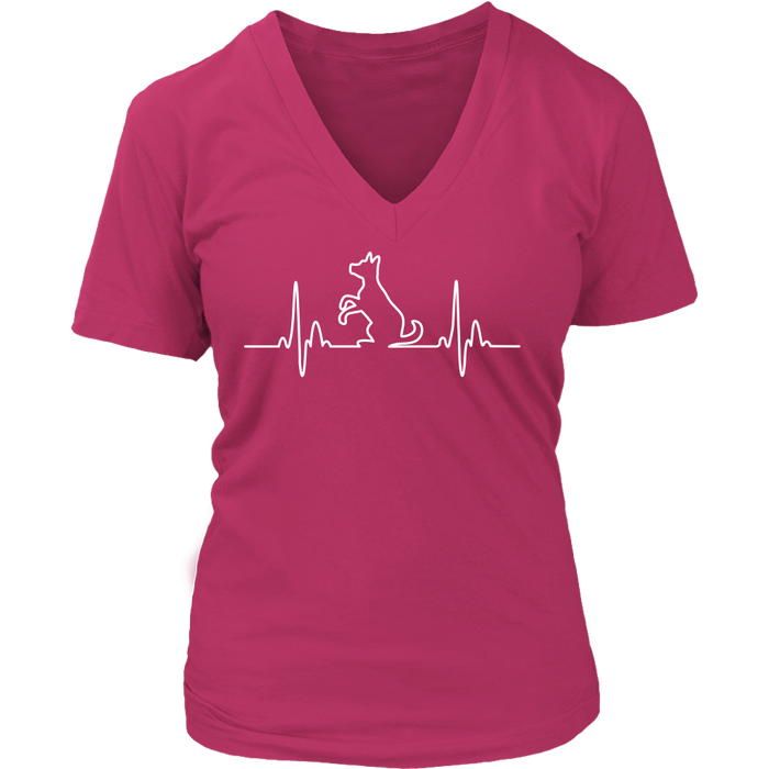 Dog Heartbeat Ladies V-Neck