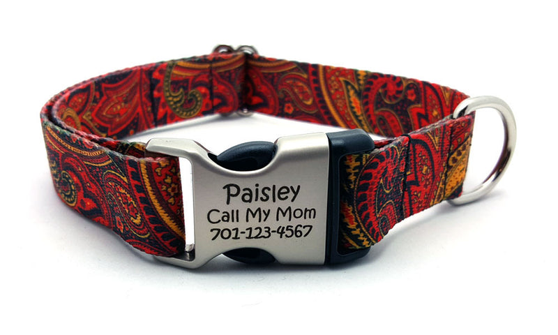 Fire Paisley Polyester Webbing Dog Collar with Laser Engraved Personalized Buckle - Flying Dog Collars