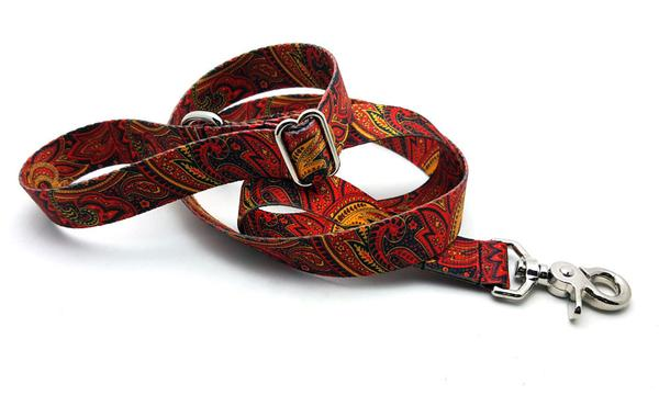 Fire Paisley Polyester Adjustable Handle Leash